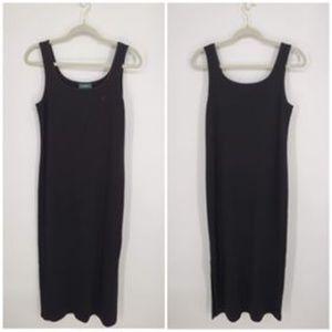 Ralph Lauren Ribbed Black Tank Maxi Dress Sz L
